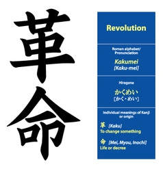 Kanji calligraphy revolution vector