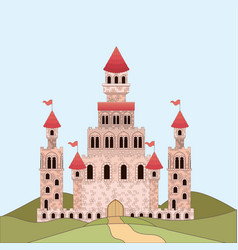 landscape with princesses castle in colorful vector image