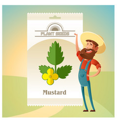 Pack of mustard seeds icon vector