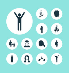 People icons set collection of male gentleman vector