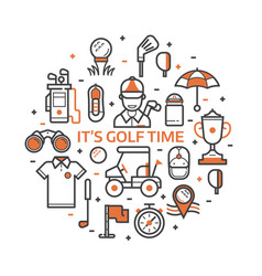 Play golf print with golf icons vector