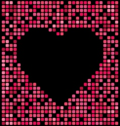 Red color pixel background black heart center vector