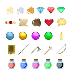 Rpg game icons set potions buttons weapons scrolls vector