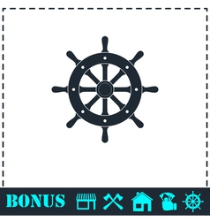 Rudder icon flat vector