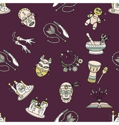 Seamless pattern with voodoo symbols vector