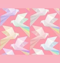 seamless texture with multi colored origami doves vector image vector image