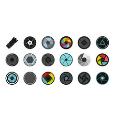 shutter icon set flat style vector image