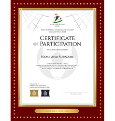 Sport theme certificate of participation template vector