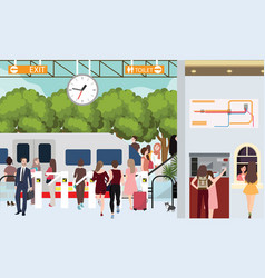 Train station busy scene people in rush waiting in vector