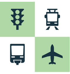 transport icons set collection of railroad vector image