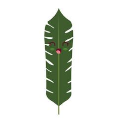 Tropical leafs decorative kawaii character vector