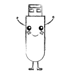 Usb memory kawaii character vector