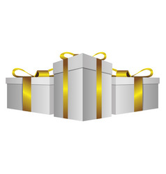 White gift boxes with gold ribbon icon vector
