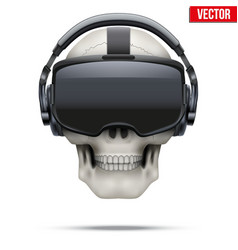 Original stereoscopic 3d vr headset and skull vector