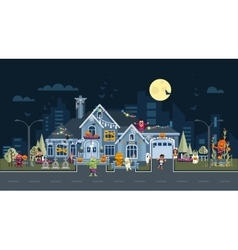 House facade decorated for halloween vector