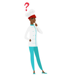 thinking chef cook with question mark vector image