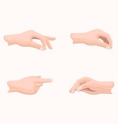 Human palms holding gestures flat set vector