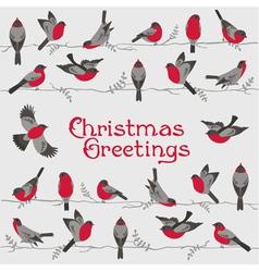 Retro Christmas Card - Winter Birds vector image