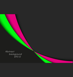 Black pink and green curves on black background vector