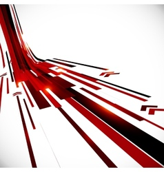 Abstract black and red perspective techno vector