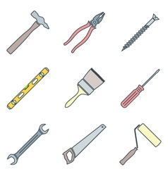 Color outline house remodel tools icons vector