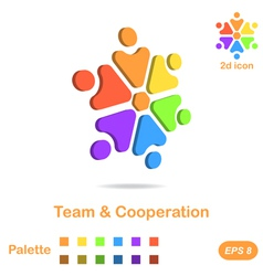 Team and cooperation logo concept vector image