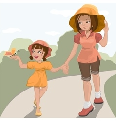 Mother walks with her daughter in the park vector