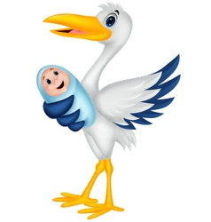 Cartoon stork with baby vector