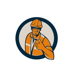 Construction worker thumbs up circle retro vector