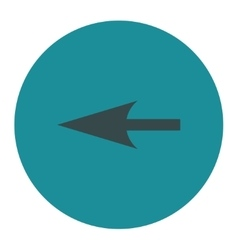 Sharp left arrow flat soft blue colors round vector