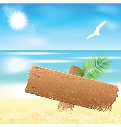Sand beach with the palm branches vector