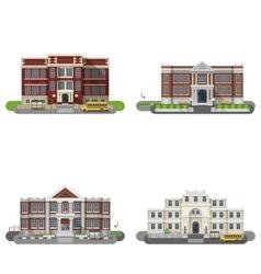 School Buildings Flat Set vector image