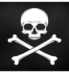Human evil skull on black background vector