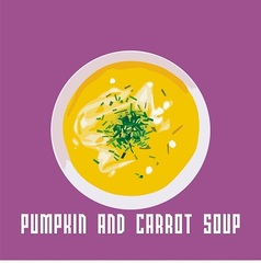 Pumpkin and carrot soup vector