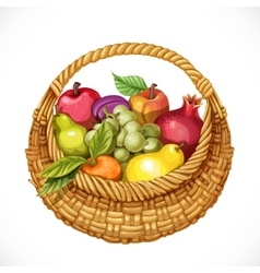 Realistic round wicker basket filled with fruits vector