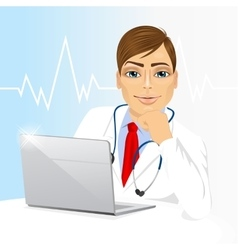 Young doctor using his laptop computer vector