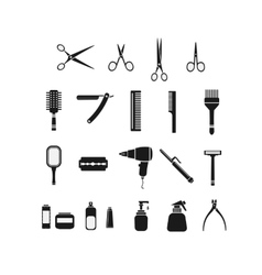Comb scissors set black icon vector