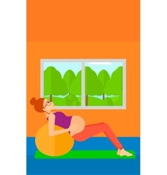 Pregnant woman on gymnastic ball vector