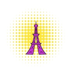 Eiffel tower icon comics style vector