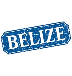 Belize blue square grunge retro style sign vector