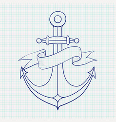 Anchor with ribbon banner hand drawn sketch blue vector