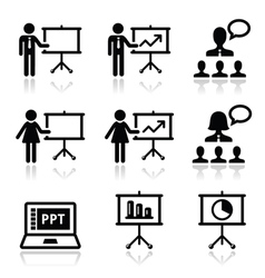 Business presentation lecture speech icon vector
