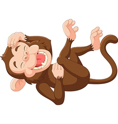 Cartoon funny monkey laughing vector