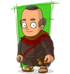 Cartoon old standing monk vector