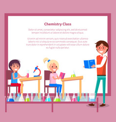 Chemistry class banner with teacher students vector