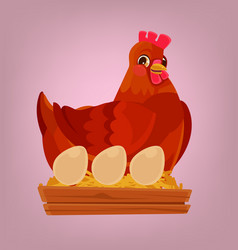Chicken character nest with eggs vector