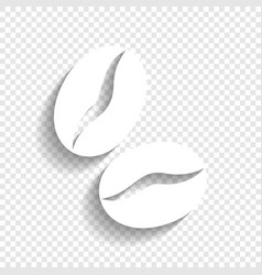 Coffee beans sign white icon with soft vector