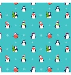 Cute penguins pattern - Merry Christmas greetings vector image