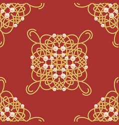 elegant golden knot sign red and golden yellow vector image
