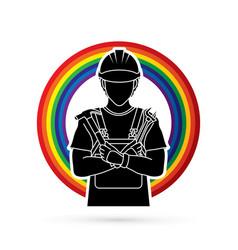 Engineer cartoon designed on line rainbows vector